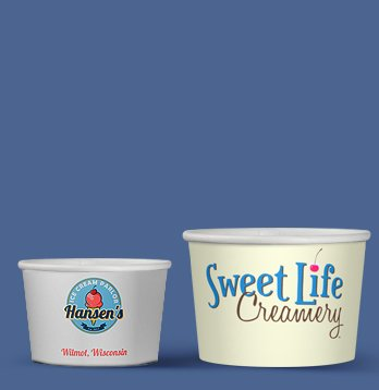 printed cups for ice cream various sizes short run