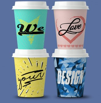 printed cups high resolution full colour all-over printing short lead time