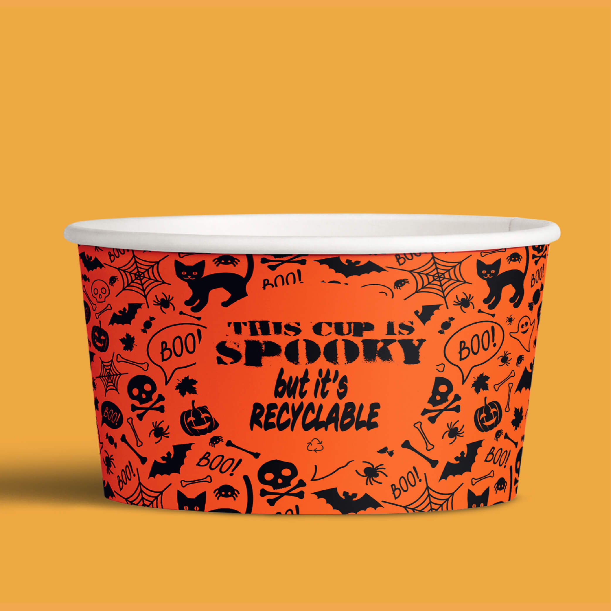 picture of halloween themed recyclable custom printed paper ice cream cup